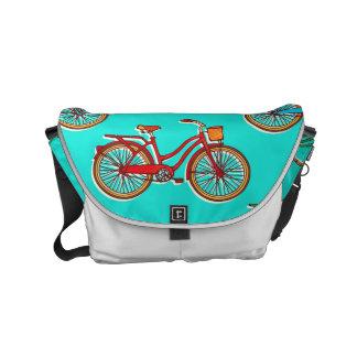 Hellblaue rote Fahrrad-Bote-Tasche Kurier Tasche