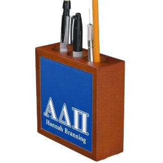 Hellblaue und weiße Buchstaben Alphadeltapus Stifthalter