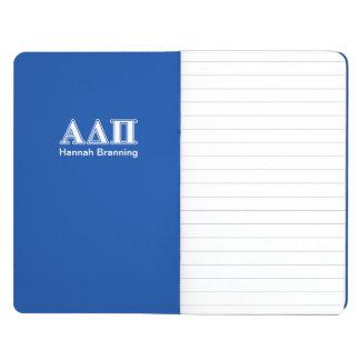 Hellblaue und weiße Buchstaben Alphadeltapus Taschennotizbuch