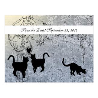 Hellblaue Vintage Katze Save the Date Postkarte