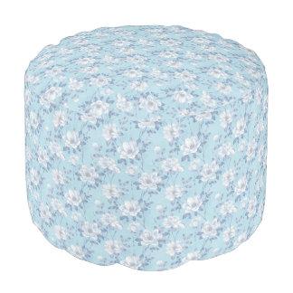 Hellblaues Blumen-Muster-runder Puff Hocker