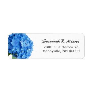 Helle blaue Blumenhydrangea-Weiß-Rücksendeadresse Rücksende Aufkleber