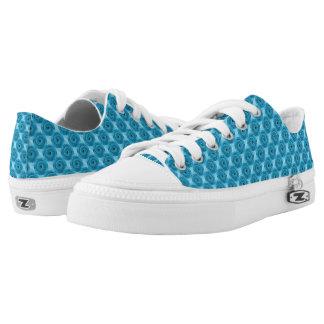 Helle blaue Wirble Kreis-abstraktes Muster Niedrig-geschnittene Sneaker