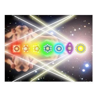 Helle Meditation chakra Beleuchtung Postkarte