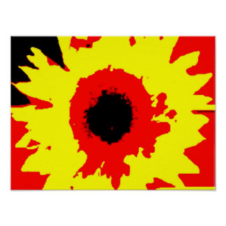helle Primärfarbsommersonnenblume-Wasserfarbe Poster