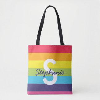Helle Regenbogen-Streifen-Initialen-Namen-Tasche