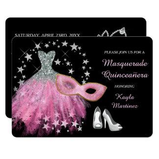 Helle rosa Maskerade Quinceanera Einladung