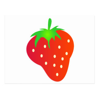 Helle rote Erdbeere mit Blätter Postkarte