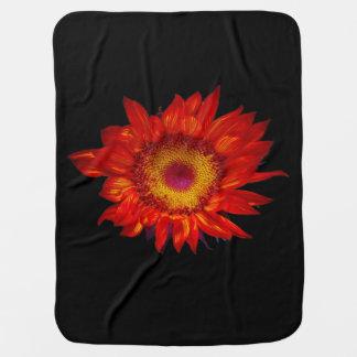 Helle rote Sonnenblume-Schwarz-Baby-Decke Baby-Decke