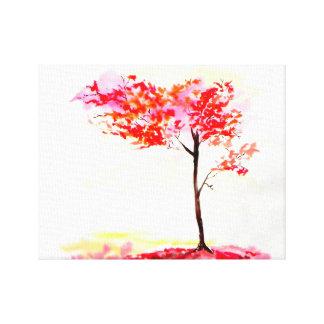 Helle rote und orange Laubbaum-Wasserfarbe Gespannter Galeriedruck