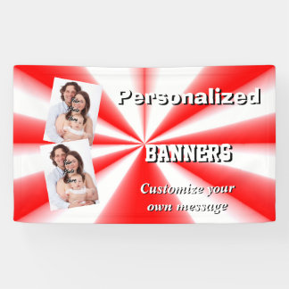 Helle rote und weiße Fotoschablone Banner