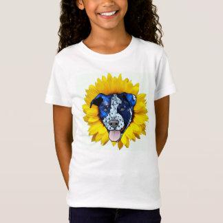 Helle u. bunte Sonnenblume Pitbull Entwurfs-Spitze T-Shirt