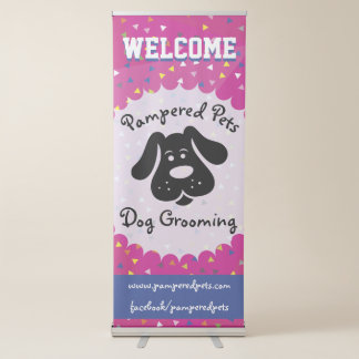 Helle und Spaß-Hundepflegengeschäfts-Fahne Ausziehbarer Banner
