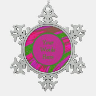 Heller rosa grüne FarbSwish abstrakt Schneeflocken Zinn-Ornament