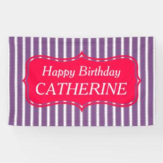 Heller rosa und lila personalisierter Geburtstag Banner