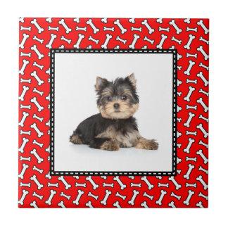 Heller roter Hundeknochen-Entwurf - addieren Sie Keramikfliese
