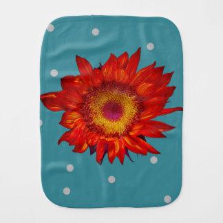 Heller roter Sonnenblume-blaues Babyburp-Stoff Spucktücher