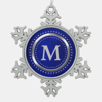 Helles blaues Chrom-Monogramm-Weihnachten Schneeflocken Zinn-Ornament