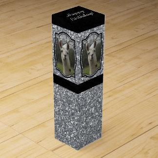 Helles n-Funkelnlama im Silber Weinbox