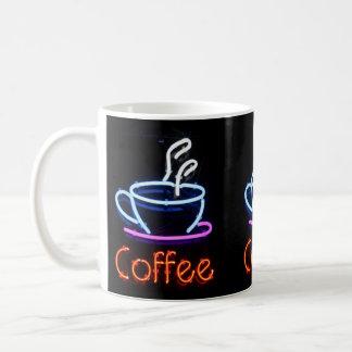 """Helles Neon""""Kaffee"""" Zeichen auf Schale Kaffeetasse"""