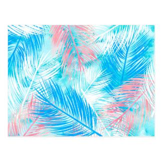 Helles rosa blaues Aquarell palmtree Blatmuster Postkarte