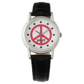 Helles rotes Friedenssymbol personalisiert Uhr