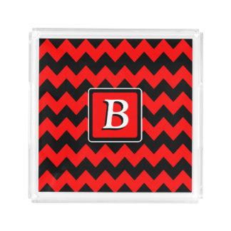 Helles rotes und schwarzes Zickzack   Monogramm Acryl Tablett