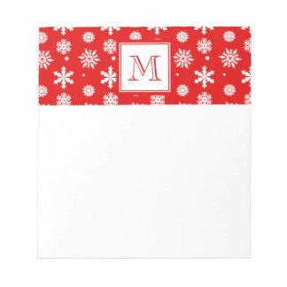 Helles rotes und weißes Schneeflocke-Muster 1 mit  Memo Notizblock