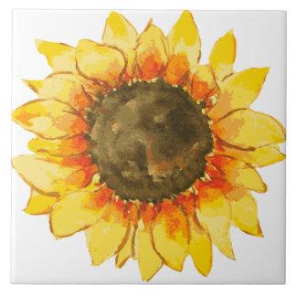 Helles Sommer-Sonnenblume-Aquarell Keramikfliese