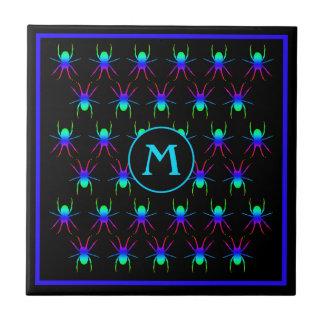 Helles Spinnenmonogramm auf Schwarzem Keramikfliese