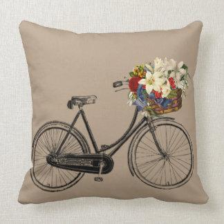 Hellgraues Fahrrad-Blume Taupe Throwkissen groß Kissen