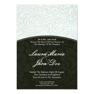 Hellgrüne Verzierungs-Hochzeits-Einladungen 12,7 X 17,8 Cm Einladungskarte