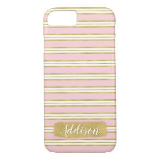 Hellrosa Goldstreifen-Muster-individueller Name iPhone 8/7 Hülle