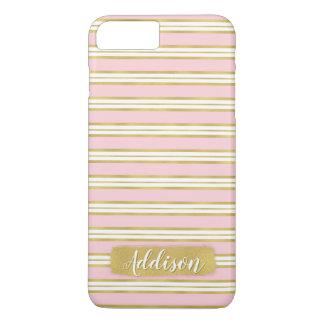 Hellrosa Goldstreifen-Muster-individueller Name iPhone 8 Plus/7 Plus Hülle