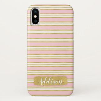 Hellrosa Goldstreifen-Muster-individueller Name iPhone X Hülle
