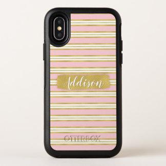 Hellrosa Goldstreifen-Muster-individueller Name OtterBox Symmetry iPhone X Hülle