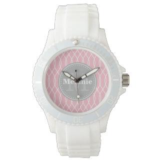 Hellrosa modernes Gitter-Muster-Grau-Monogramm Armbanduhr