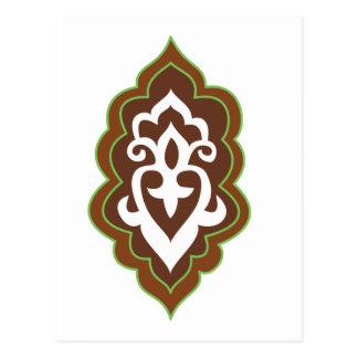 Hennastrauch-Arabeske-Grün Postkarte