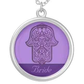 Hennastrauch-Hand von Hamsa (lila) (Hochzeit) Halskette Mit Rundem Anhänger