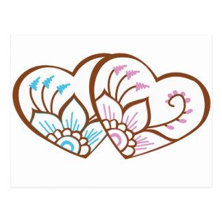 Hennastrauch-Herz-Doppeltes Postkarten