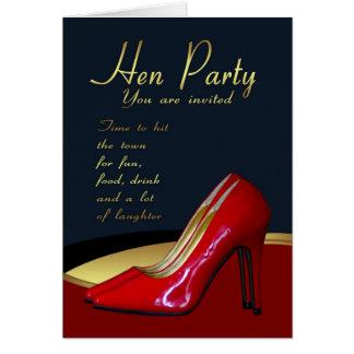 Henne-Party Einladungs-Karte - Henne-Rot beschuht Karte