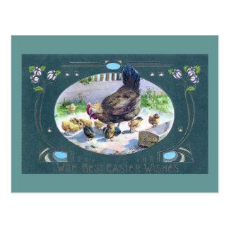 Henne und Kunst Nouveau Osterlilien Postkarte