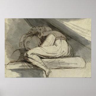 Henry Fuseli - Frauen-Sitzen, oben gekräuselt Poster