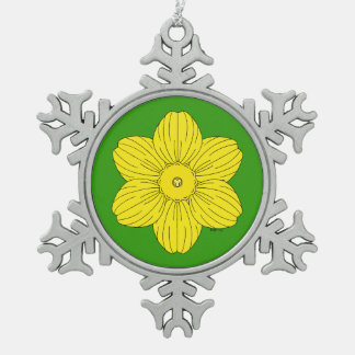 Heraldische Narzisse Schneeflocken Zinn-Ornament