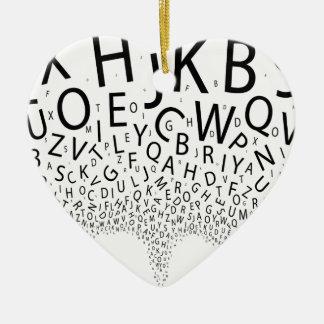 Herausspritzende Buchstaben Keramik Herz-Ornament