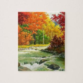Herbst-Bäume durch den Fluss Puzzle