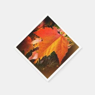 Herbst-Blatt-weißes Servietten