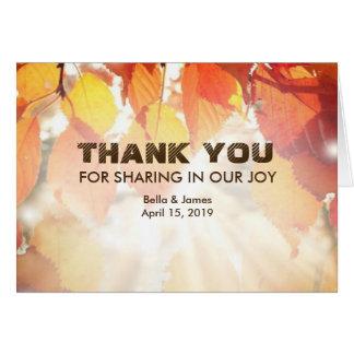 Herbst-Blätter-Hochzeit im Herbst danken Ihnen zu Karte