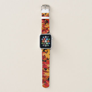 Herbst-Blätter in rotem orange gelbem Brown Apple Watch Armband