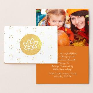 Herbst-Blätter-u. Beeren-Erntedank-Foto-Karten Folienkarte